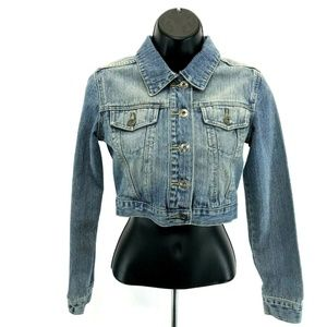YMI Denim Crop Jean Jacket Womens Size XS Blue